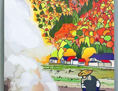 英語のイラスト解説ページに「只見町ブナセンターポスター用イラスト(秋) 野焼き」を追加しました。