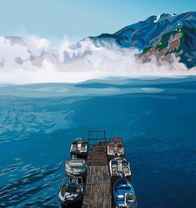 今回のイラストを 田子倉湖の風景<湖霧と船着き場> に変更しました。
