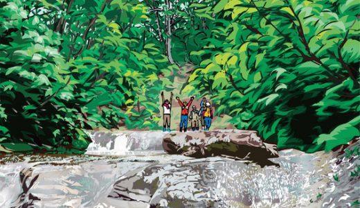 「今回のイラスト」及び「Webギャラリー」に、只見の夏シリーズ:恵みの森 <一枚岩の沢歩き>のイラストを追加しました。